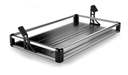 TeraFlex JKU 4-Door Wasatch Rear Cargo Rack - Silver Rails
